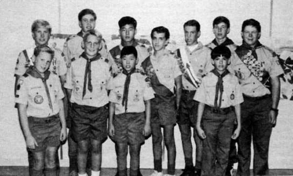 Six sets of brothers were active members of Boy Scout Troop 502, sponsored by St. George's Episcopal Church, in the 1992-93 year. The sets included Adam and Ian Pinkham, Jonathan and James Jundt, Louis and Steve Lee, Jeff and Michael Daems, Tom and Mark Kolokotrones (Mark is shown) and Chris and Ryan Kelly.