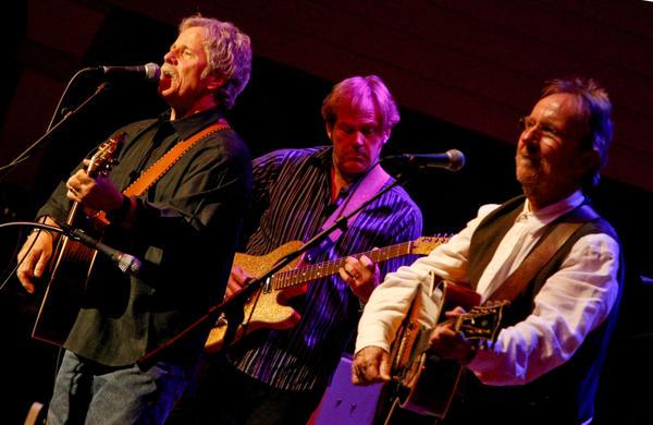 Desert Rose Band members, left to right, Chris Hillman, John Jorgenson and Herb Pedersen, perform in Bakersfield.