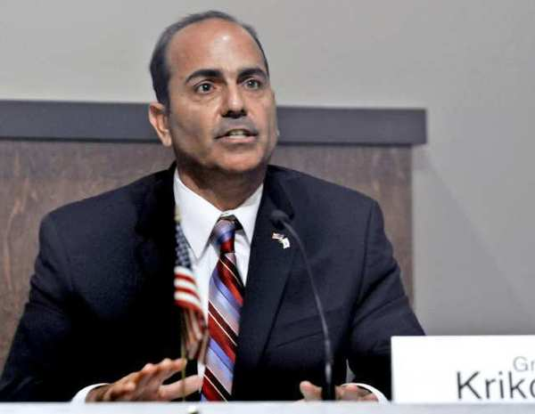 Glendale school board member Greg Krikorian participates in a debate earlier this month at Glendale City Hall.