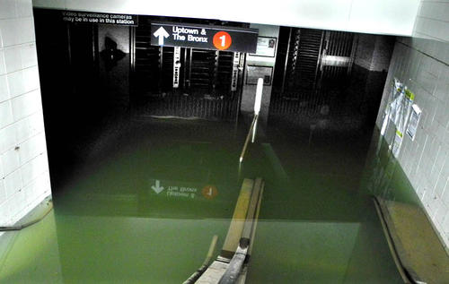 The entrance to the subway station at South Ferry remains flooded.