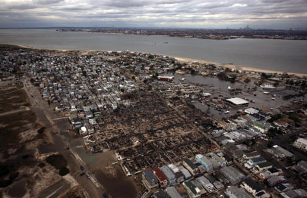 A section of burned houses, left devastated by Hurricane Sandy, is seen in this aerial photo of Breezy Point, a neighborhood located in the New York City borough of Queens, October 31, 2012.