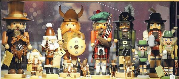 Nutcrackers on display in the Kathe Wohlfahrt booth at Christkindlmarkt in Bethlehem in 2011.