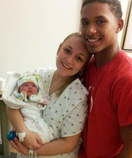 Trey Rodriguez with baby