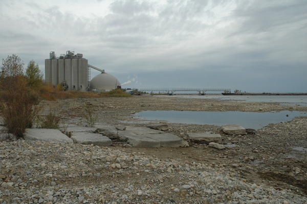 Low lake levels leave this old boat launch high and dry in this recent photo near the St. Marys Cement plant in Charlevoix.