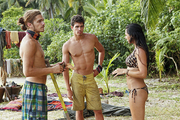 "Malcolm Freberg, Pete Yurkowski and Roberta ""RC"" Saint-Amour talk it out on ""Survivor: Philippines."""