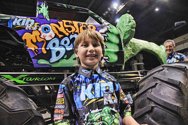 Kaid Jaret Olson-Weston of Pompano Beach drives his half-scale monster truck called Monster Bear in national shows and fairs throughout the year.