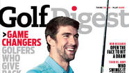 Michael Phelps swings the cover of Golf Digest