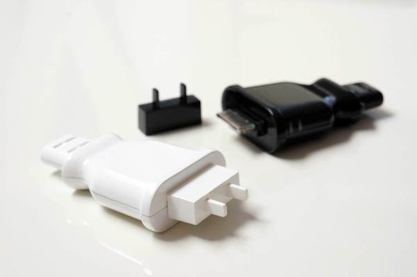 MollaSpace's battery-powered phone charger, Plug, fits in a pocket or purse and can recharge an iPhone or iPod.