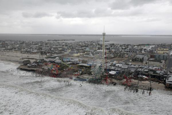 Aerial views show the damage caused by Hurricane Sandy in Atlantic City, New Jersey taken during a search and rescue mission by 1-150 Assault Helicopter Battalion, New Jersey Army National Guard on October 30, 2012.