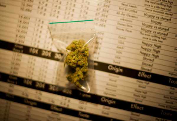 Two grams of Silver Haze cannabis, costing 10 Euros per gram, lays on menu in a coffee shop on November 1 in the center of Amsterdam, Netherlands. Coffee shops in the Dutch captial will remain open to tourists after its mayor, Eberhard van der Laan, decided that tourists will not be banned from the 220 coffee shops in Amsterdam where marijuana and hashish are openly sold and consumed. The decision came after the new government of the Netherlands stated that it would be up to local authorities to decide whether or not to impose a ban on cannabis.
