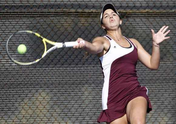 Laguna Beach High singles player Brooke Michaels helped the Breakers beat Oxford Academy in a first-round CIF Southern Section Division 2 girls' tennis match Wednesday.