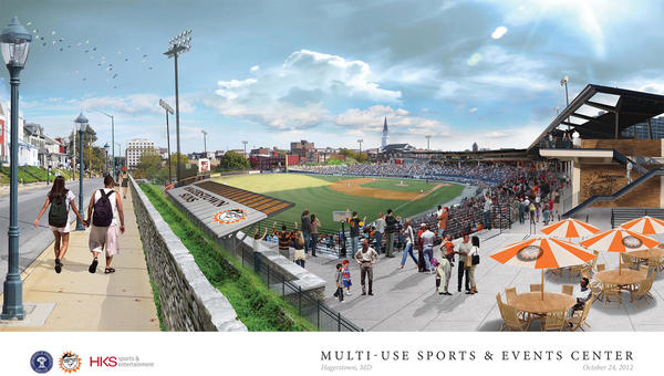 This is an updated 3-D rendering of the proposed downtown Multi-Use Sports and Events Center. This drawing reflects the street-level view incorporating the most recent orientation of home plate.