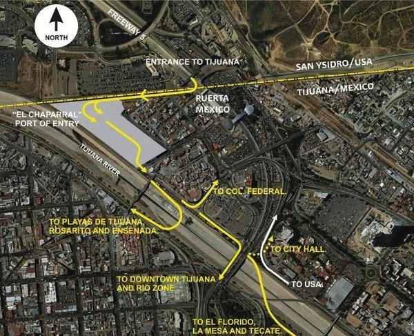 This schematic of the San Ysidro border crossing shows the old entry point at Puerta Mexico, the new one at El Chaparral and new bridges that connect with Tijuana and Baja's beach towns.