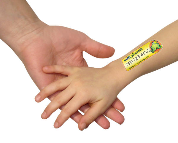 The temporary tattoos provide a parent's cell number in case a child wanders off.