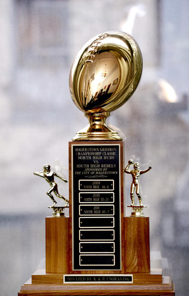 The Gridiron Classic trophy sits in the office of Hagerstown Mayor Robert E. Bruchey II on Thursday and will be given to the winning school after Friday's game.