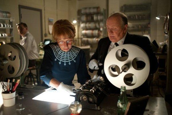 "Helen Mirren, left, as Alma Reville and Anthony Hopkins as Alfred Hitchcock in ""Hitchcock."""