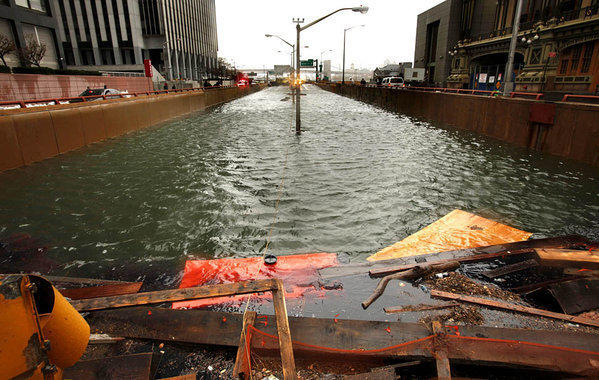 New York's Battery Park underpass flooded during Hurricane Sandy.