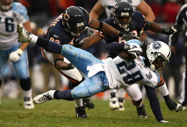 The last time the Bears played Chris Johnson, the Titans were 8-0 and the then-rookie was beginning his ascent to NFL superstardom. He entered that game averaging just under 90 rushing yards per contest, and though his Titans were victorious, the Bears stuffed Johnson for his third-lowest rushing output of his career: 14 carries for 8 yards. RATING: 1/10 on the 2007 Adrian Peterson scale