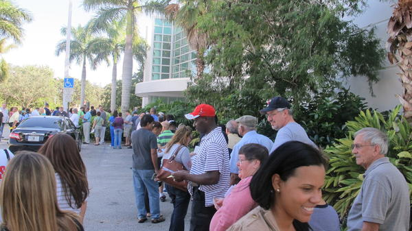 Voters line up outside the West Regional Library in Plantation to vote Saturday. The wait was one to two hours, not bad compared to others.