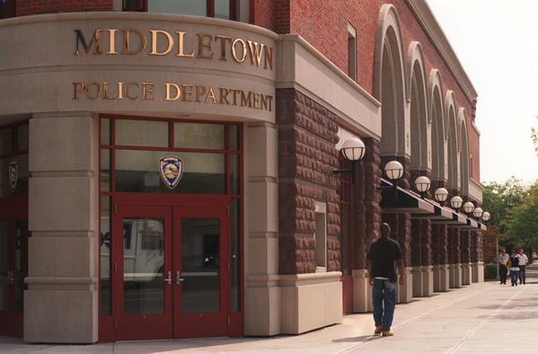 The Middletown Police Department has its headquarters on Main Street, in a building it shares with a popular restaurant.