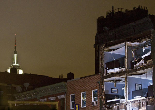 Part of the skyline in Chelsea after Hurricane Sandy. Businesses, including restaurants, scrambled to open despite widespread power outages.