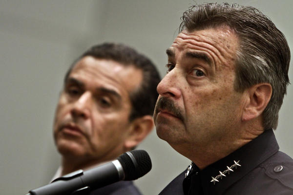 LAPD Chief Charlie Beck is seen in 2011. Police officers in Los Angeles and across California are performing their duties with far less public scrutiny than in the past.