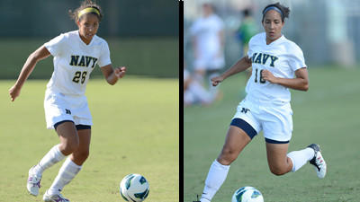 Twin sisters Kahra (left) and Caprice (right) are part of the Navy women's soccer team and its strong season.