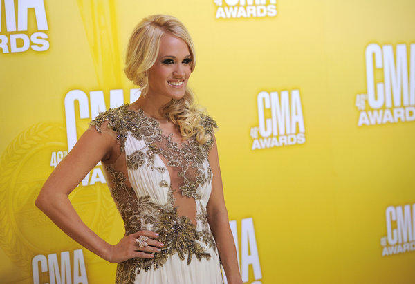 Carrie Underwood arrives for the CMA Awards.