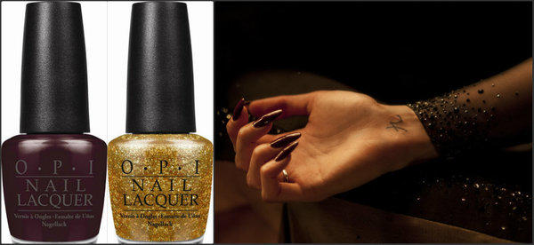 "To create Berenice Marlohe's unique manicure in the newest Bond film, makeup artists used two of OPI's new 007-themed colors, a shade called Skyfall (left) on top of the nail and a glittery gold called GoldenEye (center) on the underside. At right is Marlohe's manicure as it appears in ""Skyfall."""