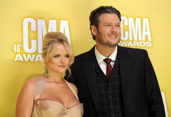 "Miranda Lambert and Blake Shelton arrive at the 46th CMA Awards in Nashville, where they won song of the year for ""Over You."""