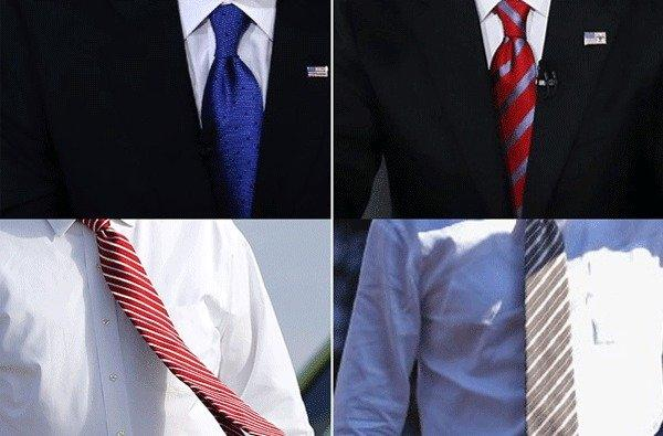 Who's who? The presidential candidates are seen on the campaign trail. Scroll down to the end of this post to see who chose to wear what when.