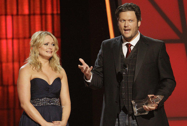 Miranda Lambert and Blake Shelton collected five top awards between them at Thursday's 46th CMA Awards in Nashville.
