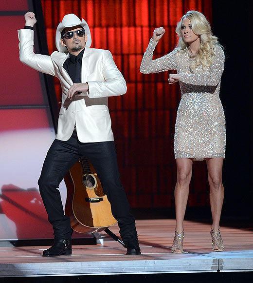 Country Music Association Awards 2012: Best and worst moments: Brad Paisley and Carrie Underwood delivered a surprisingly crisp and funny opening to the show, even with the now-obligatory Gangnam Style dance. Non-comedians trying to be funny in this kind of setting can be dicey, but Underwood and Paisley pulled it off.  -- Rick Porter, Zap2it