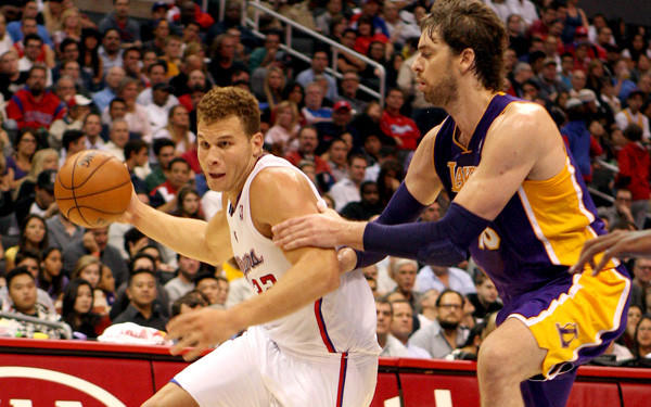Clippers power forward Blake Griffin drives against Lakers power forward Pau Gasol during an exhibition game last month at Staples Center.