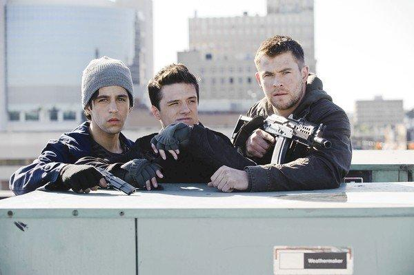 """Red Dawn,"" with Josh Peck, left, Josh Hutcherson and Chris Hemsworth, sees the light of day."