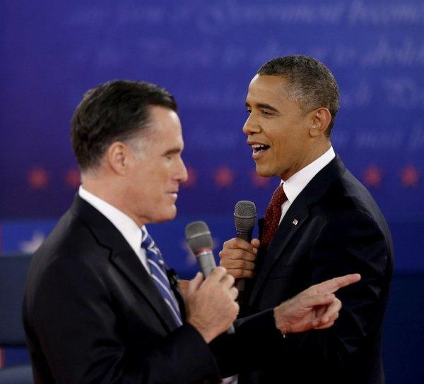 Mitt Romney and President Barack Obama at the Oct. 18 presidential debate. Americans for the Arts has issued a checklist highlighting their stands on arts funding issues.