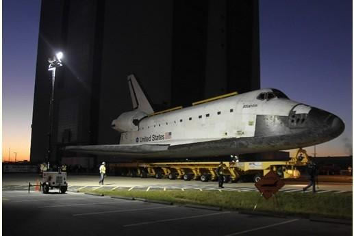 Space shuttle Atlantis starts a slow trek on Friday, November 2, 2012 to it's new home at Kennedy Space Center Visitors Complex.