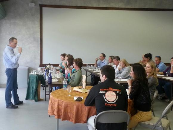 Charles Birr leads a recent  Wine 101 tasting class at the Gloucester Wine Festival held at Brent and Becky's Bulbs.