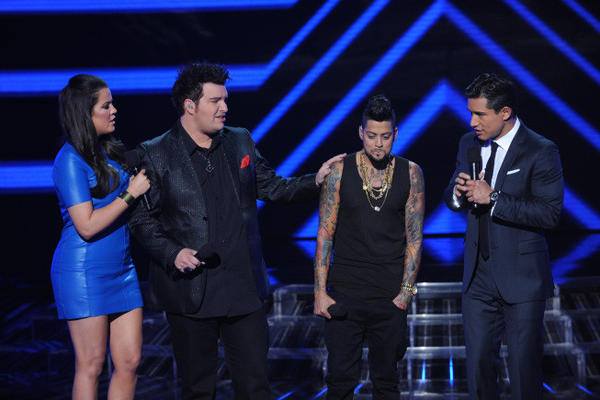 "David Correy (second from right) is eliminated on ""The X Factor."""