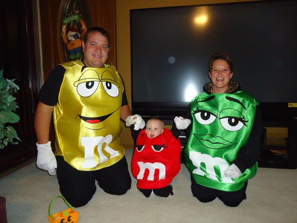 The whole bag of M&M's with the granddaughters 1st Halloween at 9 months old.  Her name is Aspen Arment.  The proud parents are Chris and Jennifer Arment of Aberdeen.  Grandparents are Joe and Theresa Juve, Lynn and Pat Arment also of Aberdeen.