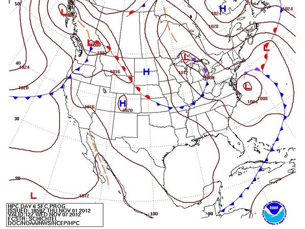 A nor'easter could move up the Atlantic coast next week, according to forecast models like this one.