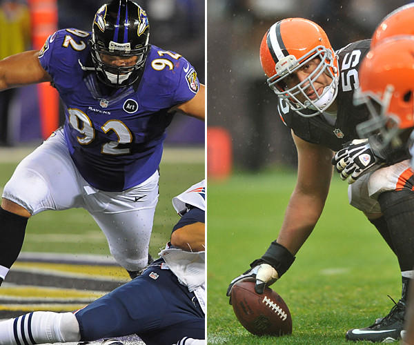 The Ravens have used Ngata at end and nose guard and when he slants, it takes two players to get him out of the gap. Mack weighs only 311 pounds. He is solid, but Ngata might be too much to handle. If Ngata can hold the middle, the Browns running game will struggle.<br> <br> <b>Edge:</b> Ravens.