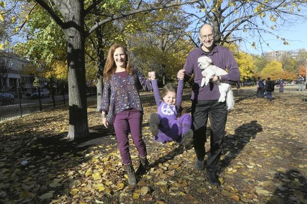 Sandy and Steve Davidson along with their daughter Lily, 3 and Ginger, their dog
