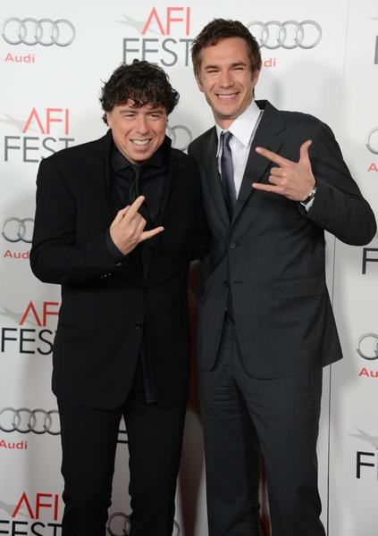 """Hitchcock"" director Sacha Gervasi, left, and actor James D'Arcy, who plays Anthony Perkins in the film."