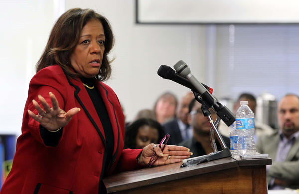 Chicago Public Schools CEO Barbara Byrd-Bennett speaks at the Chicago Urban League on Friday. Bennett later answered questions from attendees on charter schools, Latino students and school closings.