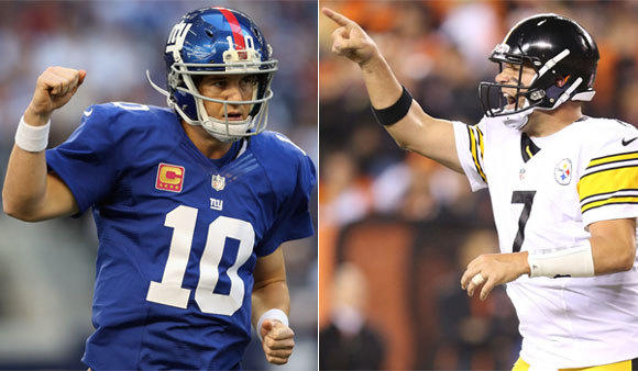 Quarterbacks Eli Manning of the New York Giants, left, and Ben Roethlisberger of the Pittsburgh Steelers will face off for only the third time Sunday.