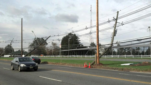 Runner Chris Nicholas saw plenty of damaged utility poles and downed power lines as he ran his way through New York and New Jersey this week.
