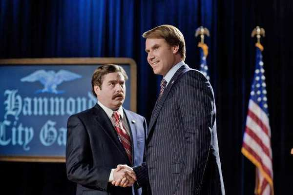 "Zach Galifianakis as ""Marty Huggins"" and Will Ferrell as ""Cam Brady"" in the comedy ""The Campaign."""