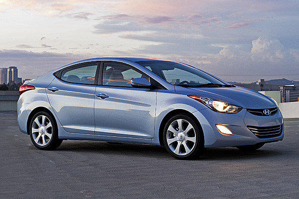 Model year 2012 and 2013 Hyundai Elantras like the one seen here are among the nearly 1 million Hyundai and Kia vehicles that the EPA says have overstated fuel economy claims.