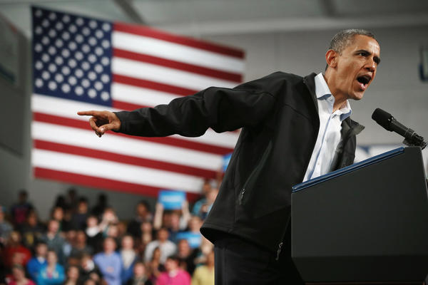 President Obama addresses a campaign rally at Springfield High School in Springfield, Ohio.
